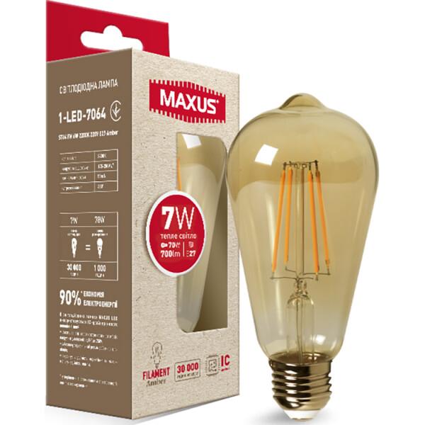 Купить Лампочки, Лампа филамент ST64 FM 7W 2200K 220V E27 Amber (1-LED-7064), Maxus