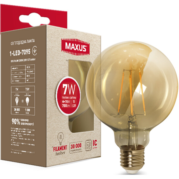 Купить Лампочки, Лампа филамент G95 FM 7W 2200K 220V E27 Amber (1-LED-7095), Maxus