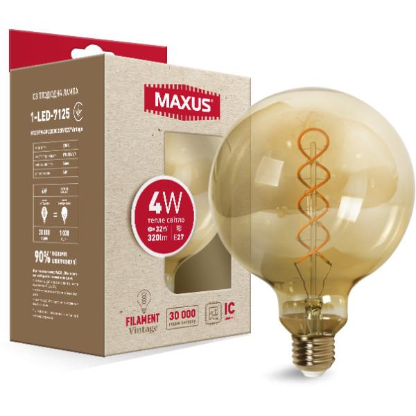 Купить Лампочки, Лампа филаментая MAXUS Vintage G125 4W 2200K E27 (1-LED-7125)