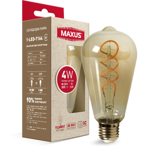 Купить Лампочки, Лампа филаментая MAXUS Vintage ST64 4W 2200K E27 (1-LED-7164)