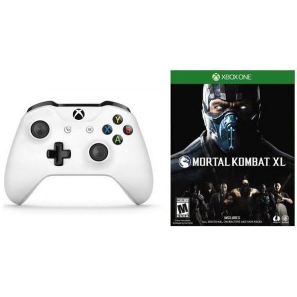 Купить Игровые манипуляторы, Microsoft Xbox One S White Wireless Controller + Mortal Kombat XL Xbox One русские субтитры