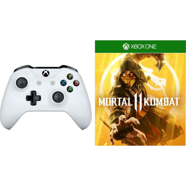 Купить Игровые манипуляторы, Microsoft Xbox One S White Wireless Controller + Mortal Kombat 11 Xbox One русская версия