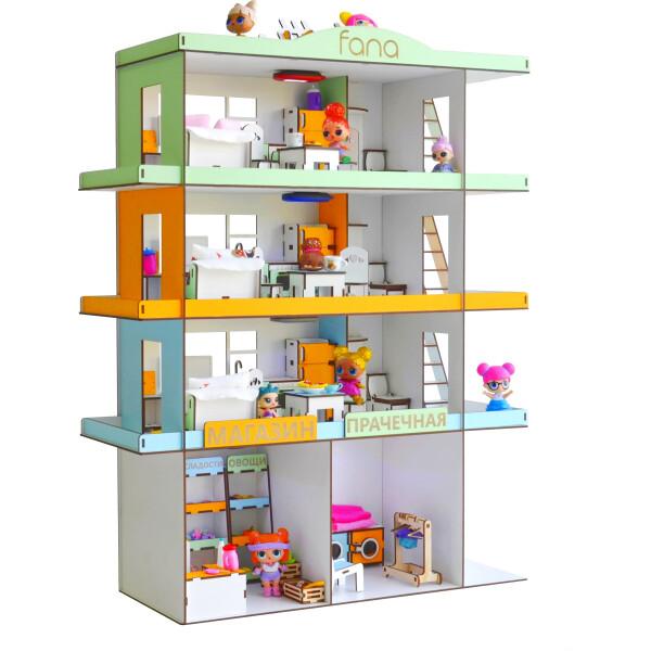 Купить со скидкой Кукольный домик FANA для LOL Радужная многоэтажка с мебелью (2305)