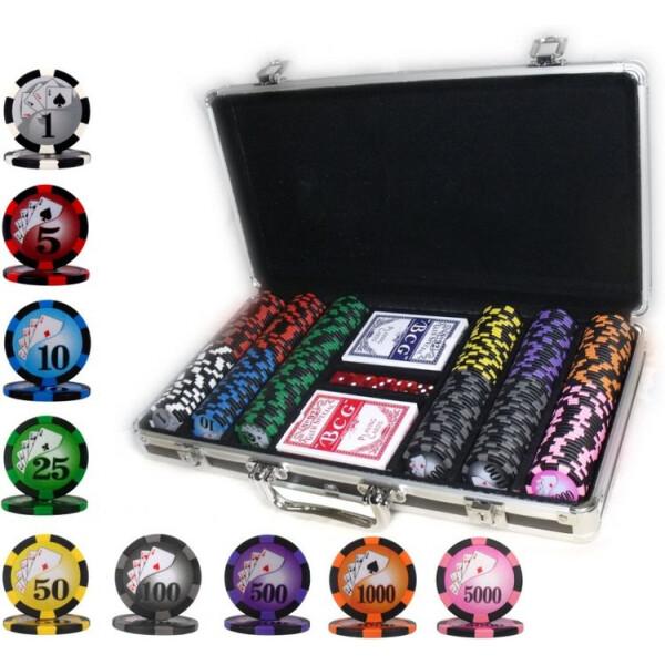 Купить Настольные игры, Набор для игры в покер Goods4u 300 номинальных фишек в кейсе