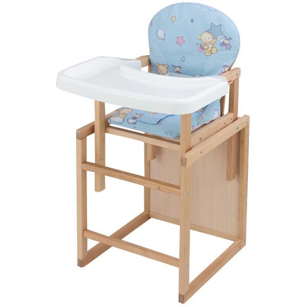 Купить Стульчики для кормления, Стульчик-трансформер Babyroom Пони-230 eko без лака пластиковая столешница голубой (мишка, пчелка, звезда)