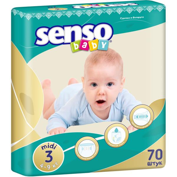 Детские подгузники Senso Baby миди,размер 3, 4-9 кг, 70 шт  (4810703000551)