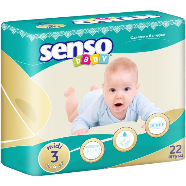 Детские подгузники Senso Baby миди,размер 3, 4-9 кг, 22 шт  (4810703000223)