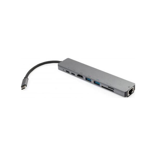 Купить Картридеры и USB-хабы, адаптер USB Type C -> HDMI/Ethernet/USB/Type C/Card Reader Vinga Aluminium (VCPATC2U3CRLNHIPDGR), Trust