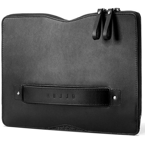 9110f29ea301 Кожаный чехол-сумка MUJJO Carry-On Folio Sleeve Black для MacBook 12