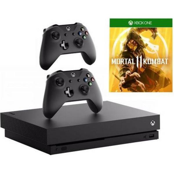 Купить Игровые консоли, Microsoft Xbox One X Black 1 TB+ Microsoft Microsoft Xbox One S White Black Wireless Controller + Mortal Kombat 11 Xbox One русская версия