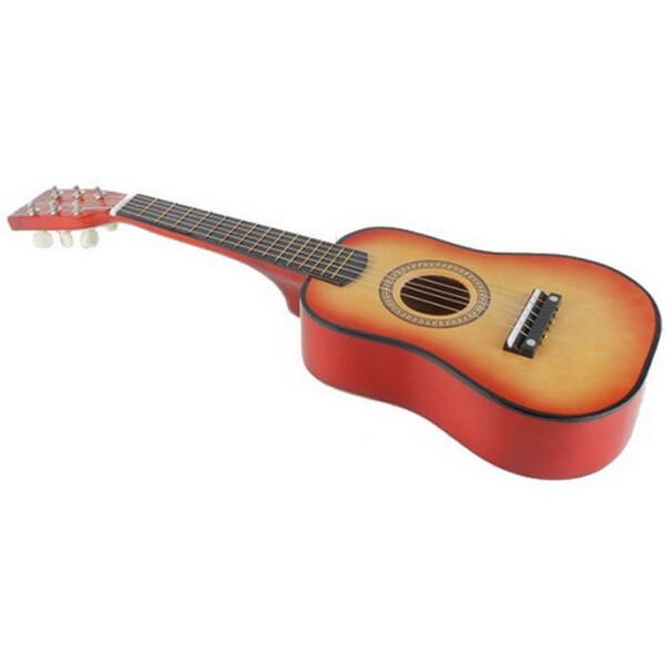 Купить Детские музыкальные инструменты, Гитара детская M 1369 Деревянная (Оранжевый), Metr Plus