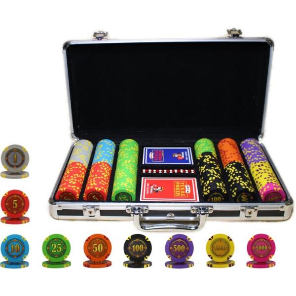 Купить Настольные игры, Профессиональный набор для игры в покер Goods4u Compass 300 номинальных фишек в кейсе