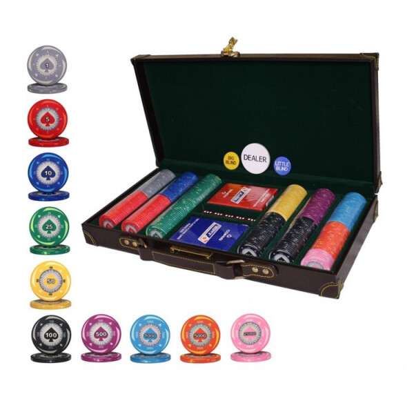 Купить Настольные игры, Элитный набор для игры в покер Goods4u Alpha 300 керамических фишек в кожаном кейсе