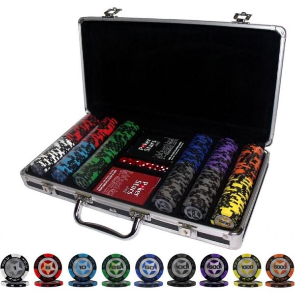 Купить Настольные игры, Элитный набор для игры в покер Goods4u PokerStar 300 керамических фишек в кейсе