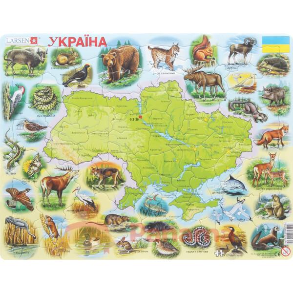 Купить Пазлы, Пазл рамка-вкладыш LARSEN Карта Украины - животный мир, серия МАКСИ (K37)