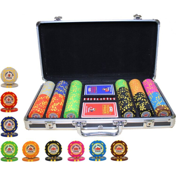 Настольные игры, Профессиональный набор для игры в покер Goods4u Texas Holdem Poker 300 номинальных фишек в кейсе  - купить со скидкой
