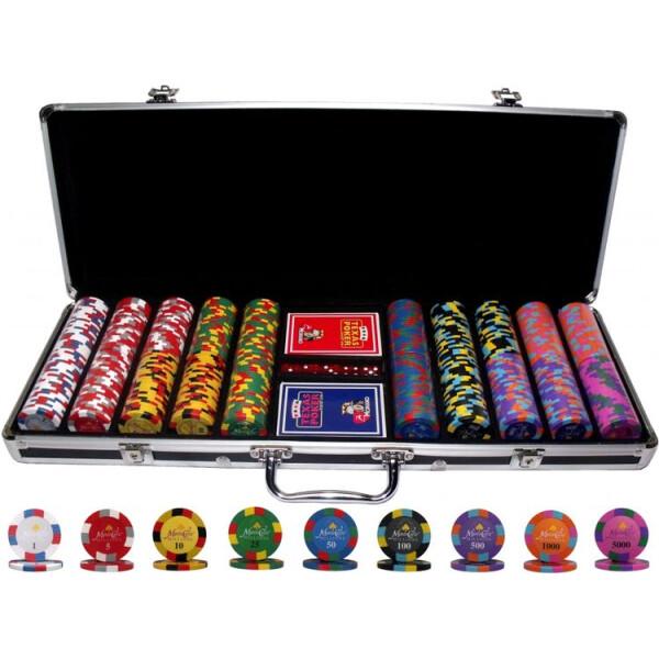 Купить Настольные игры, Профессиональный набор для игры в покер Goods4u Monte Carlo Millions 500 номинальных фишек в кейсе