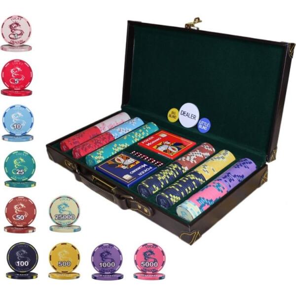 Купить Настольные игры, Элитный набор для игры в покер Goods4u Lucky Dragon 300 керамических фишек в кожаном кейсе
