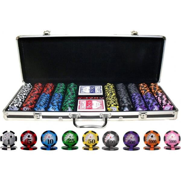 Купить Настольные игры, Набор для игры в покер Goods4u 500 номинальных фишек в кейсе