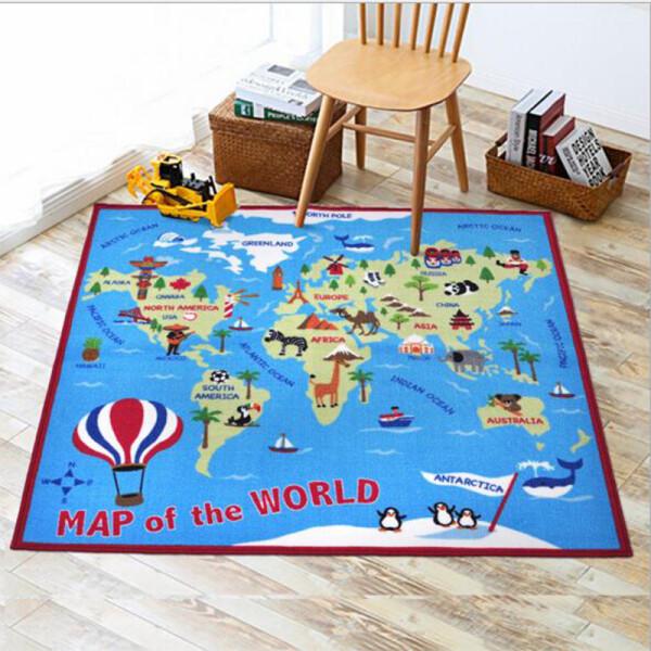 Купить Развивающие коврики, Коврик для детской комнаты Berni Карта мира 100 х 150 см Синий (45984)