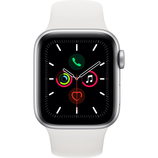Купить Смарт-часы, Apple Watch Series 5 GPS, 40mm Silver Aluminium Case with White Sport Band (MWV62GK/A)