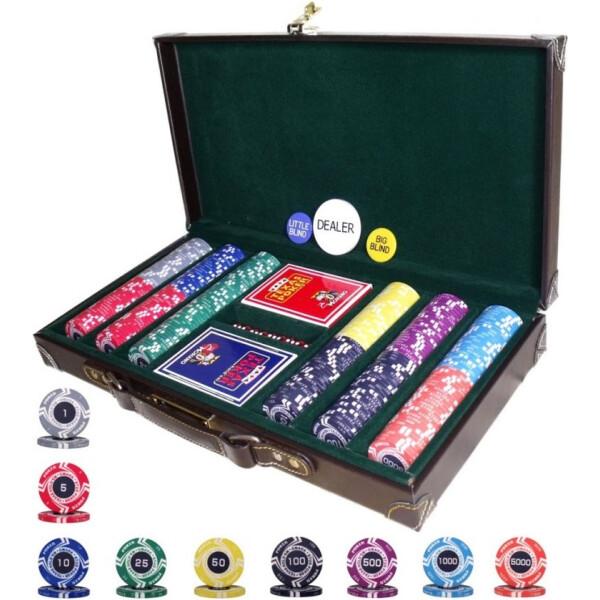 Купить Настольные игры, Элитный набор для игры в покер Goods4u Poker Style 300 керамических фишек в кожаном кейсе