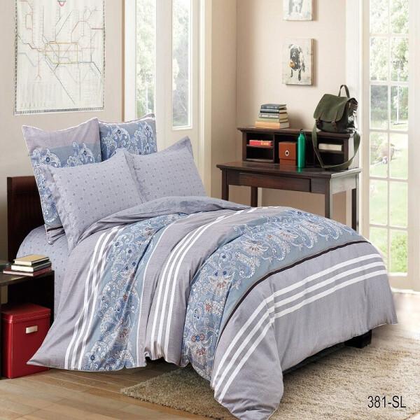 Комплект постельного белья Уютная Жизнь Цветочный узор-3 Сатин Двуспальный 180х220 (K-SN-381-SL-A-B)