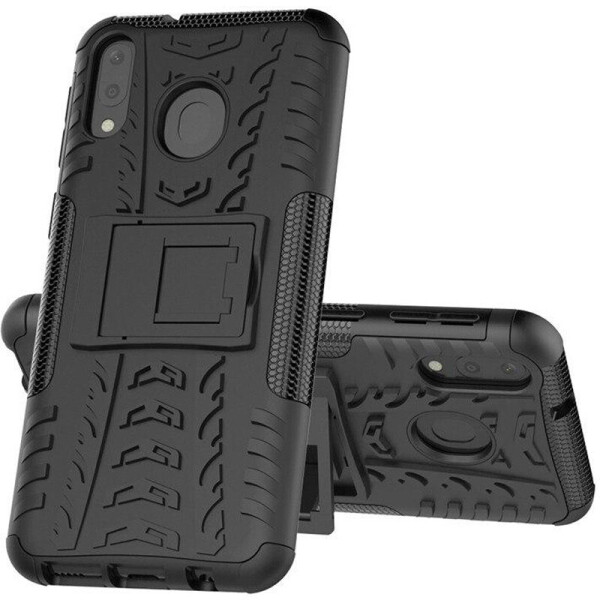 Противоударный двухслойный чехол Shield для Samsung Galaxy M20 с подставкой (Черный) (684811)