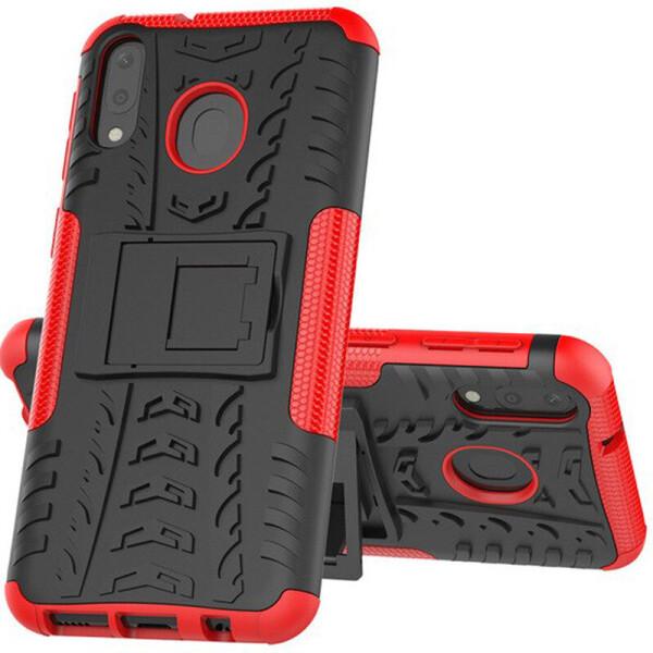 Противоударный двухслойный чехол Shield для Samsung Galaxy M20 с подставкой (Красный) (684807)