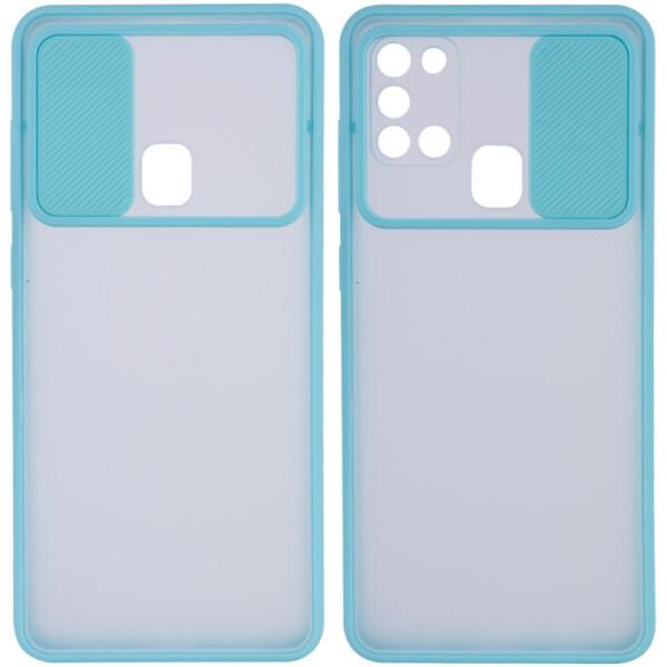 Купить Чехлы для телефонов, Чехол Camshield mate TPU со шторкой для камеры для Samsung Galaxy A21s (Бирюзовый) (923483), Epik