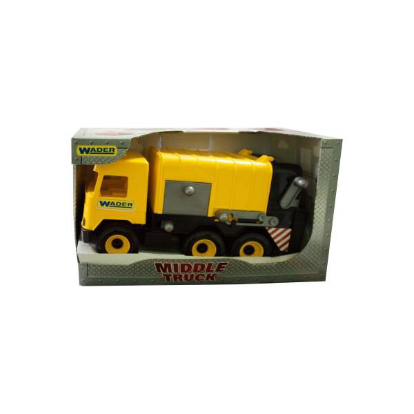 Мусоровоз Wader Middle truck (желтый) 39492