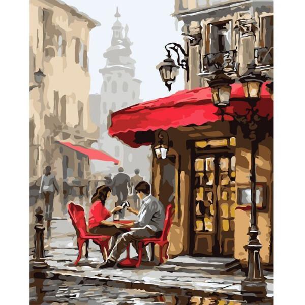 Купить Наборы для творчества и рукоделия, Картина по номерам Городской пейзаж Свидание в кафе 40х50см. KHO2144, Идейка