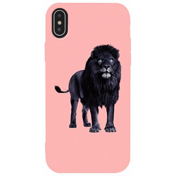 TOTO Matt TPU 2mm Print Case Apple iPhone XS Max #36 Blacklion Pink