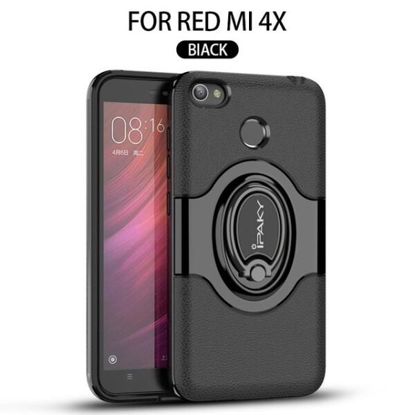 Купить Чехлы для телефонов, TPU+PC чехол iPaky Feather с имитацией кожи и подставкой для Xiaomi Redmi 4X Черный (78519)