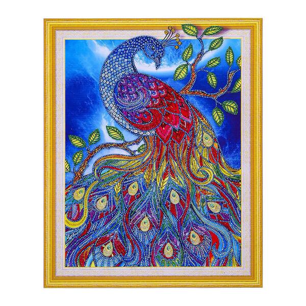 """Алмазная мозаика Lesko DIY 4017 """"Сказочный павлин"""" от Allo UA"""