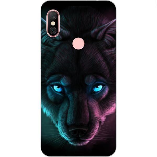 Чехлы для телефонов, Силиконовый чехол бампер Amstel для Xiaomi Redmi Note 6 Pro с картинкой Волк с голубыми глазами  - купить со скидкой