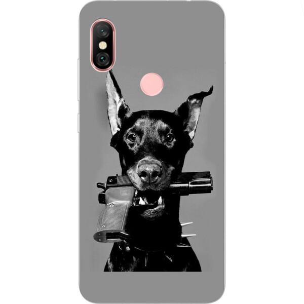 Чехлы для телефонов, Силиконовый чехол бампер Amstel для Xiaomi Redmi Note 6 Pro с картинкой Собака с пистолетом  - купить со скидкой