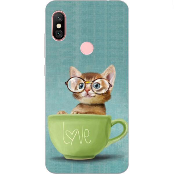 Купить Чехлы для телефонов, Силиконовый чехол Amstel с рисунком для Xiaomi Redmi Note 6 Pro Котик в чашке