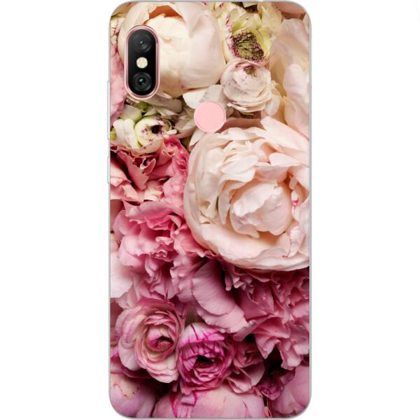Купить Чехлы для телефонов, Силиконовый чехол Amstel с рисунком для Xiaomi Redmi Note 6 Pro Пионы