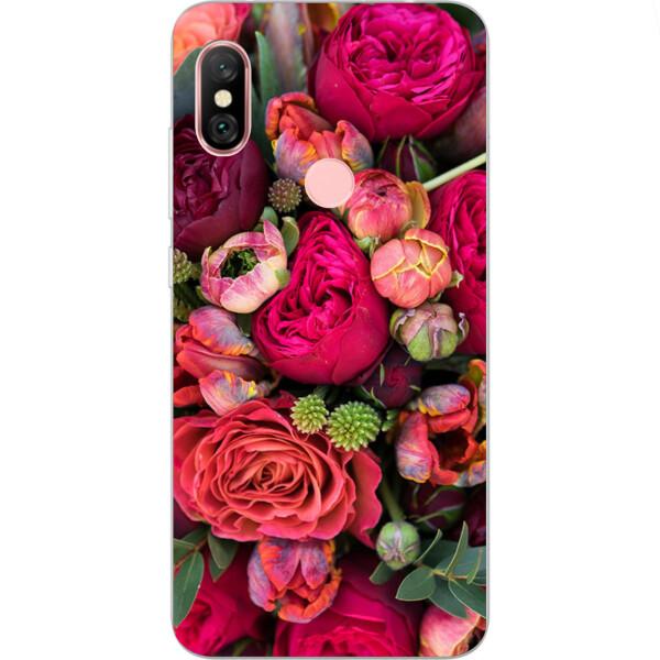Купить Чехлы для телефонов, Бампер силиконовый чехол Amstel с картинкой для Xiaomi Redmi Note 6 Pro Букет