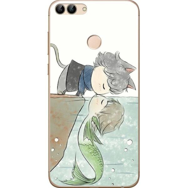 Купить Чехлы для телефонов, Чехол силиконовый Amstel для Huawei P Smart с картинкой Кот с русалкой, NN