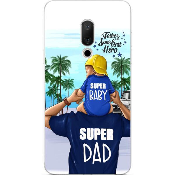 Купить Чехлы для телефонов, Бампер силиконовый чехол Amstel для Meizu 15 Plus с картинкой Супер папа