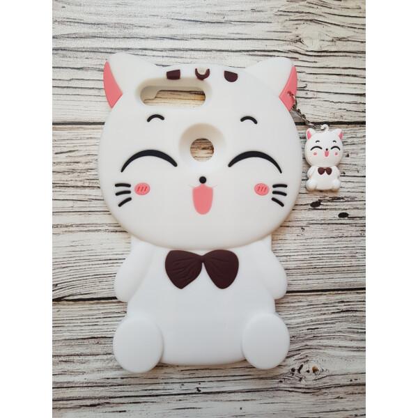 Купить Чехлы для телефонов, Объемный 3D силиконовый чехол Amstel для Huawei Y7 Prime 2018 / Y7 2018 / Nova 2 Lite Кошечка белая, NN