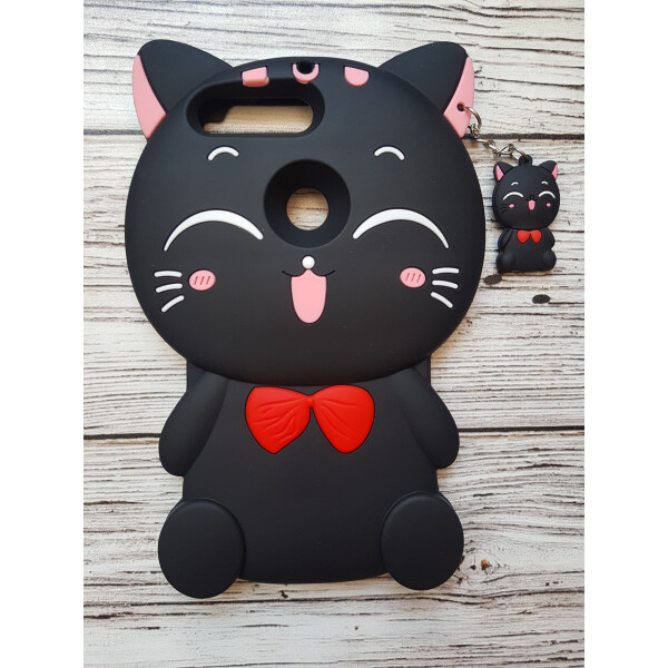Купить Чехлы для телефонов, Объемный 3D силиконовый чехол Amstel для Huawei Y7 Prime 2018 / Y7 2018 / Nova 2 Lite Кошечка черная, NN