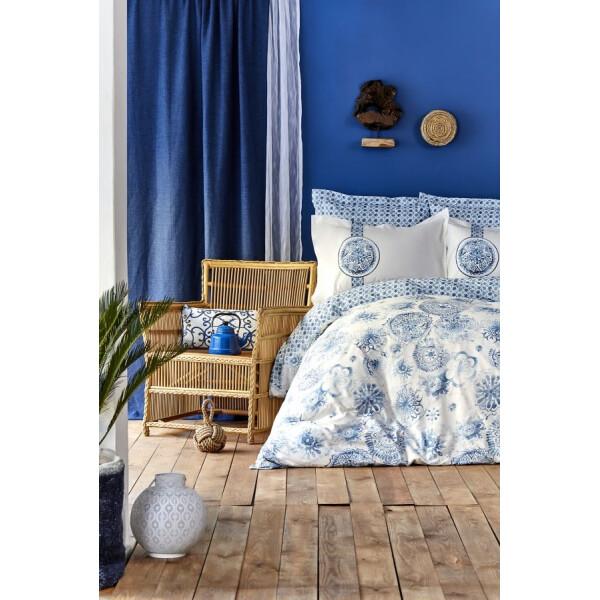 Купить Комплекты постельного белья, Karaca Home - Felinda mavi 2019-2 голубой пике 220*230 евро