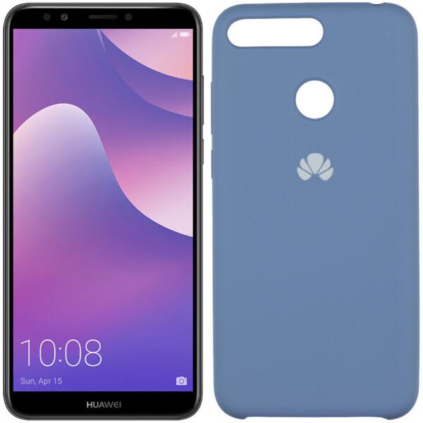 Чехол силиконовый оригинальный для Huawei Y6 Prime 2018 Синий FULL (26597) U-Like
