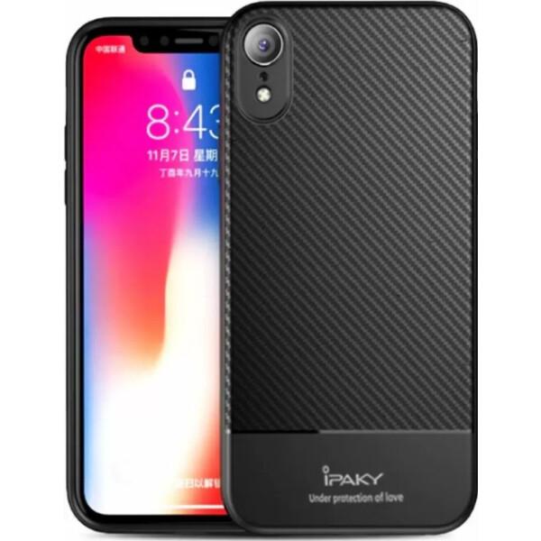 Купить Чехлы для телефонов, Чехол-накладка Ipaky Carbon Fiber Series/ TPU Case with Carbon Fiber Pattern Apple iPhone Xr (6, 1) Black bz_F_75917