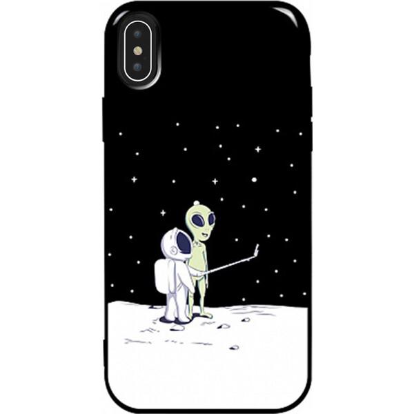 Купить Чехлы для телефонов, Чехол-накладка TOTO Pure TPU 2mm Print Case Apple iPhone X/Xs #40 Ufo Moon Black (bz_F_94789)