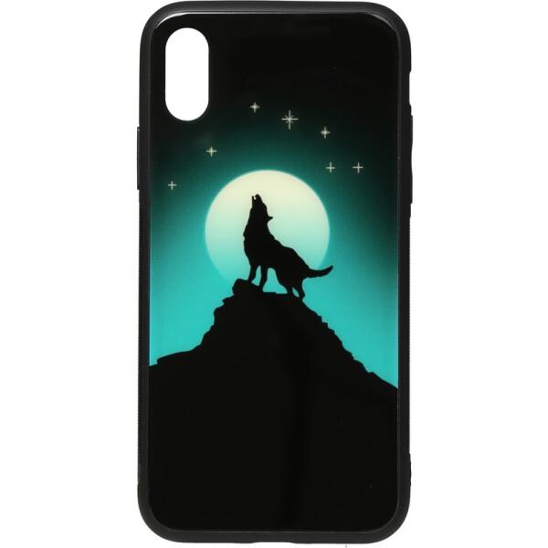 Чехлы для телефонов, Чехол-накладка TOTO Night Light Print Glass Case Apple iPhone X/Xs Howling Wolf (bz_F_96010)  - купить со скидкой