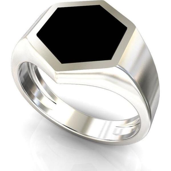 JF / Кольцо из серебра с ониксами (искусст.), размер 20.5 (1551243)